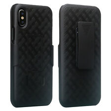Apple iPhone X Belt Clip Holster Combo Cell Phone Case With Kick Stand Cover