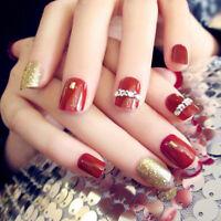 24Pcs Chiodi rossi corti e dorati con adesivi Nail art acrilico TCRIT