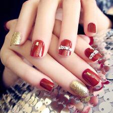 24Pcs Red & Gold Short False Nails With Stickers Acrylic Nail Art Tools FOSPUK