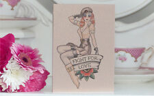 FIGHT FOR LOVE Soldier Pinup Girl Tattoo Luxury Handmade Blank birthday card