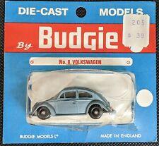 """BUDGIE no. 8 BLUE VOLKSWAGEN BEETLE """"SEDAN"""" ON CARD"""