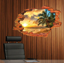 Removable Sea Sunset PALM TREE wall sticker Vinyl MURAL Art decal Home decor yut