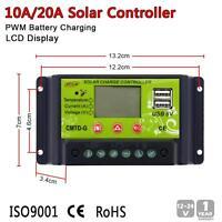 Intelligent 10A/20A PWM Solar Panel Charge Controller Regulator LCD 12V 24V MT