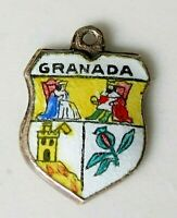 GRANADA Vintage Silver Enamel Travel Shield Charm for Souvenir Bracelet