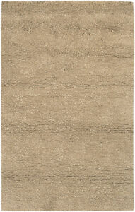 "2x8 Runner Surya Hand Made Wool Tan Shag 8685 Area Rug - Approx 2' 6"" x 8'"