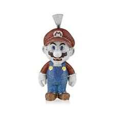 Solid 925 Sterling Silver Mario Game Theme Stylish Pendant Gift Stylish Look