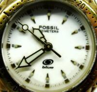 Fossil Blue AM-3116 WR 50m Gold Tone St. Steel Watch Glo Analog Quartz New Batt