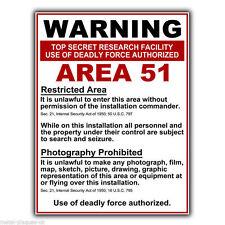 Area 51 Cartello Di Avvertimento in Metallo Muro Firmare La Placca FUNNY DIVERTENTE POSTER stampati