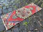 Vintage doormats, Turkish small rug, Hand-knotted wool rug, Carpet | 0,9 x 2,5 f