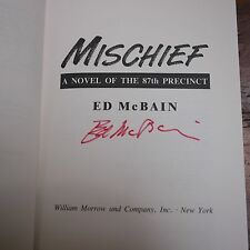 SIGNED Ed McBain MISCHIEF 87th Precinct Novel Hardcover Book 1st Edition
