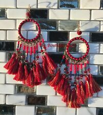 BOHO DARK BURGUNDY WINE DREAMCATCHER BEADED TASSLE DANGLE STATEMENT EARRINGS