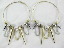 New Large Gold & Silver Tone Hoop Spike Earrings #E1160