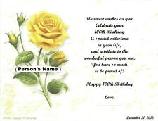 100th Birthday Gift, Or Any Age, Personalized Poem Gift, Yellow Rose Print