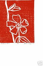 "1 Original lino print ""Red Vinca"" from edition of  6"