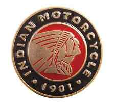 INDIAN MOTORCYCLE MENS PREMIUM BRASS RED BLACK CIRCLE BUCKLE ENAMEL LOGO CHIEF