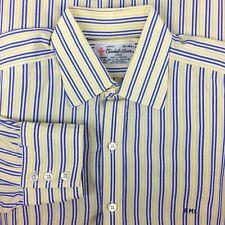 Turnbull Asser Men's Luxury Dress Shirt 16.5-34 Yellow Blue Striped Button Down
