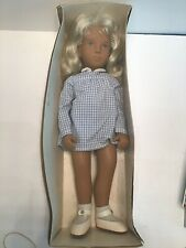 "16"" SASHA #107 BLONDE GIRL DOLL IN BLUE WHITE GINGHAM DRESS, MADE IN ENGLAND"