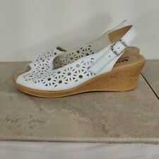 spring step leather wedge sandal size 8 white laser cut ankle strap comfort shoe