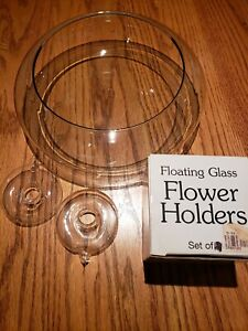 Floating Glass Flower Holders Set of 2 with Glass Bowl Used
