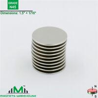 """10-count neodymium N45 Disc rare earth NdFeB magnets 1.5 x 1/16""""(true N45)"""
