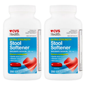 🔥2 x CVS Extra Strength Stool Softener Relieves Constipation 250 Softgels 250mg