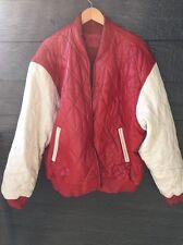 Vintage Clubwear Quilted Red Leather Jacket Echtes Leder Size 5x HipHop
