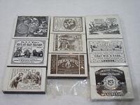 Lot de 9 boites d'allumettes NEUVES publicitaire VICTORIAN Victorien England