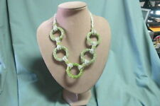 Nepal micro Bead Necklace with Circles Green and White