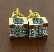 Men's  gold 6 mm square micro pave  c z screw back stud earrings.