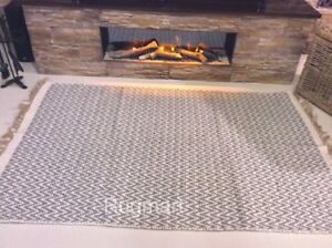 Medium Grey Chevron Handmade Recycled Cotton & Jute Washable ZigZag Kilim Rugs