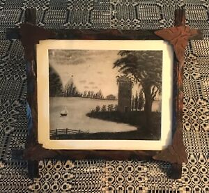 Antique American Framed Sandpaper Painting/Marble Dust Painting circa 1840-1860