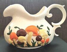 Retro Vintage PITCHER ARNEL'S Mushrooms 1970's Ceramic Porcelain Large Toadstool
