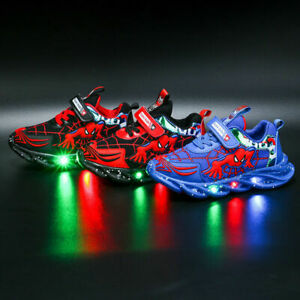 New style Boys Children Spiderman LED Trainers Shoes Flashing Light Up Sneakers