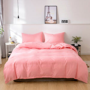 Plain Bedding Set Twin Full Queen King Size Pillowcase Bed Duvet Cover Comfort