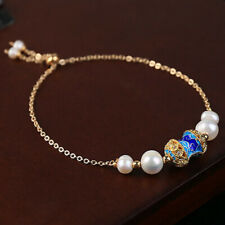 Freshwater Pearl Cloisonne Bracelet Women Cuff Adjustable Bangle Jewelry Gifts