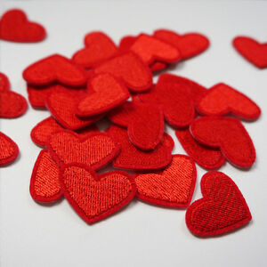 10pcs Red Love Heart Embroidery Sew On Iron On Small Patch Badge Applique Craft