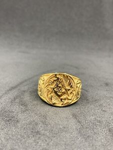 Masonic Gold Ring Men's Size 11 Stainless Steel Gold Colour Ring Masonic Jewels