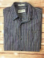 ORVIS Men's Short Sleeve Button Up Collared 100% Cotton Checked Shirt Medium