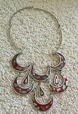 Vintage ALPACA SILVER Mexico ENAMELED Abalone Shell BIB Chandelier NECKLACE Red