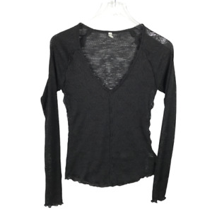 Free People Intimately Women's Blouse Size M Black V-Neck Sheer Long Sleeve Top