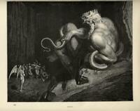 1880 Stampa Antica = Dante INFERNO = MINOSSE = di G. DORE' Old Print