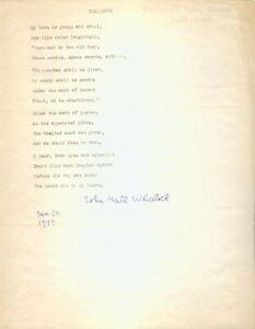 "SIGNED John Hall Wheelock Typed Poem ""Challenge"" 1977 Good condition"