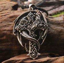 CROCE Celtica Collana con pendente Dragon Guardian