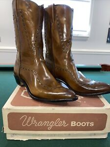 Vintage Wrangler Brown Leather Shiny Pointed Toe Western Boots NOS NIB Sz 10M