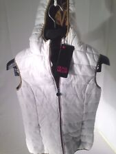 White Women's Slim Fit Puffer Vest Jacket Top Small Olivia Miller US Seller