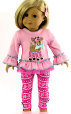 """Holiday Pink Rudolph Top & Leggings for 18"""" American Girl Doll Clothes"""