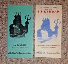 Vintage Cruise Line Brochures HOLLAND AMERICA SS RYNDAM Layout new ship facts'51