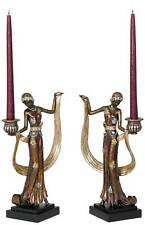 "Art Deco Lady 14"" High Taper Candle Holders - Set of 2"