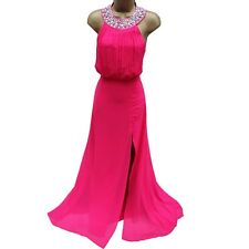 Lipsy VIP Hot Pink Embellished Halterneck Wedding Party Maxi Long Dress 16 UK 44
