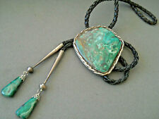 Southwestern Navajo Green Malachite Sterling Silver Bolo Tie w/ Matching Tips